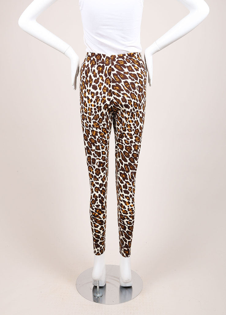 Stella McCartney Cream, Brown, and Yellow Wool Leopard Print Lightweight Pants Backview