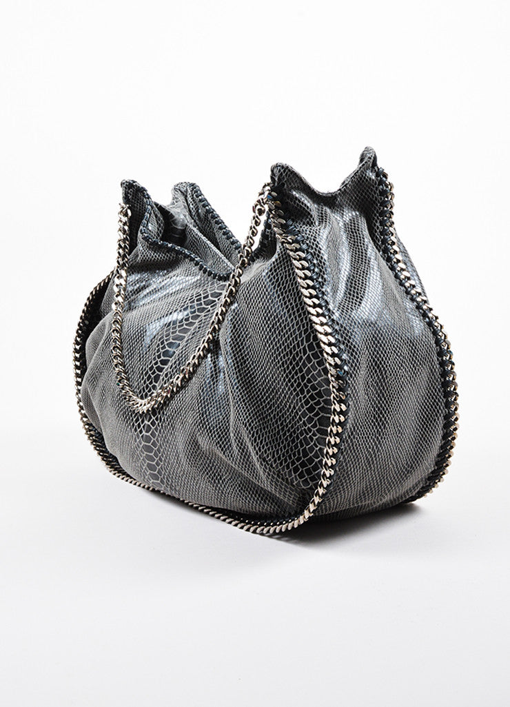 Stella McCartney Grey and Black Faux Snakeskin Print Hobo Shoulder Bag Sideview