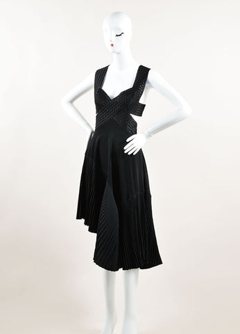 Stella McCartney Black Chiffon Pleated Backless Sleeveless Dress Sideview
