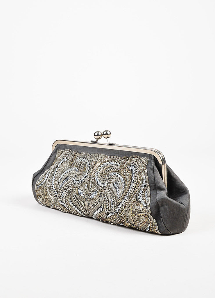 Stella McCartney Silver and Grey Chain Beaded Embellished Frame Clutch Bag Sideview