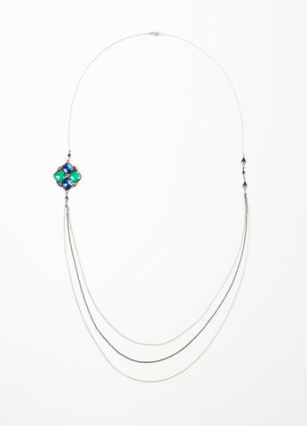 Tacori  Sterling Silver Green Blue Onyx Hematite Pendant Necklace Frontview