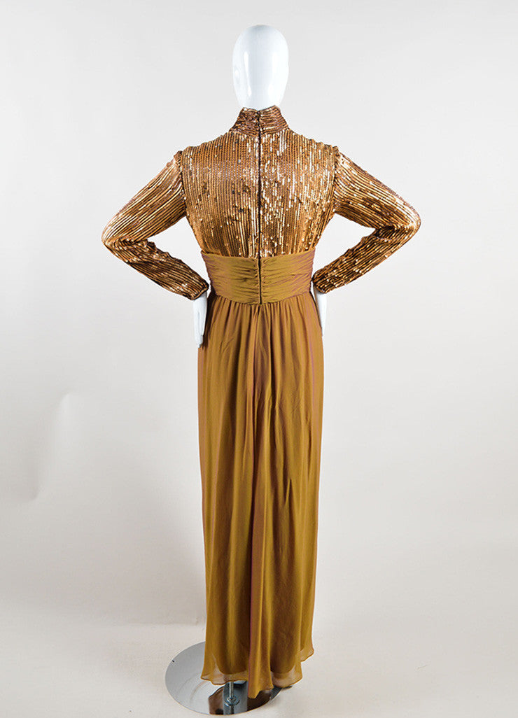Bob Mackie Gold Sequin Long Sleeve Ruched Gown Backview