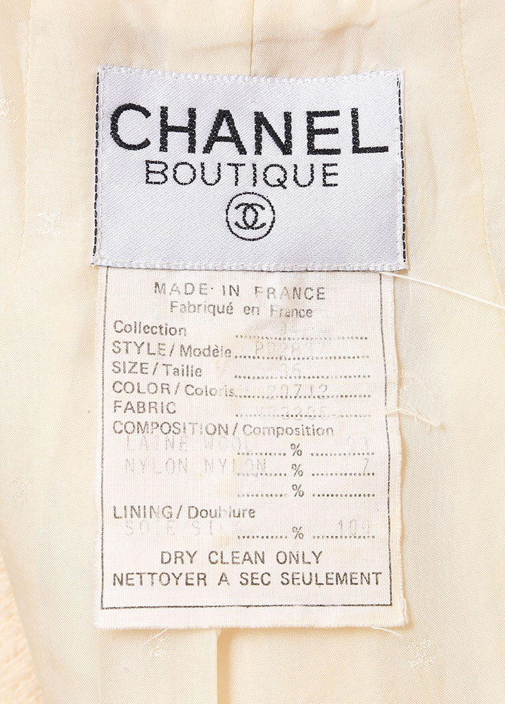 Chanel Cream Wool Tweed 'CC' Button Skirt Suit Tag 2