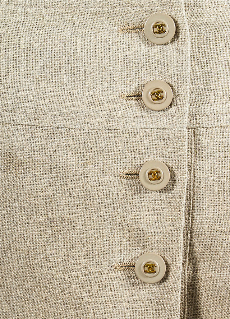 Tan Linen Chanel Gold Toned 'CC' Button Pleated Skirt Detail