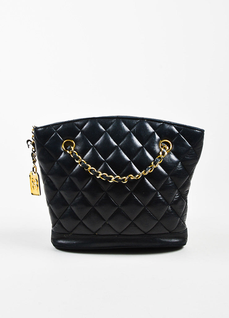Chanel Black Quilted Lambskin Double Chain Strap Shoulder Bag Frontview