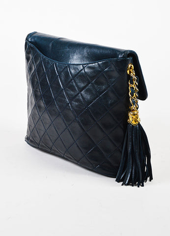 Chanel Navy Blue Leather 'CC' Flap Chain Strap Quilted Tassel Bag Sideview