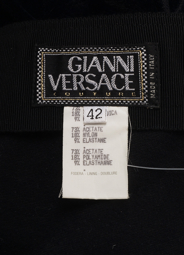 VINTAGE Gianni Versace Couture Black Velvet High Waisted Zippered Leggings SZ 42 Tag