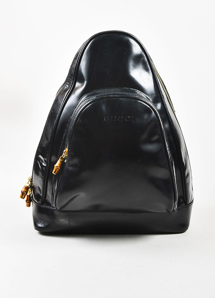 Black Patent Leather and Bamboo Accent Sling Backpack Frontview 2
