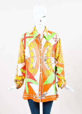 Hermes Orange and Green Compass Print Silk Button Up Blouse Frontview