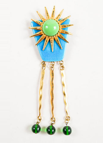 Philippe Ferrandis Multicolor Cabochon Bead Dangling Sun Pin Brooch Frontview