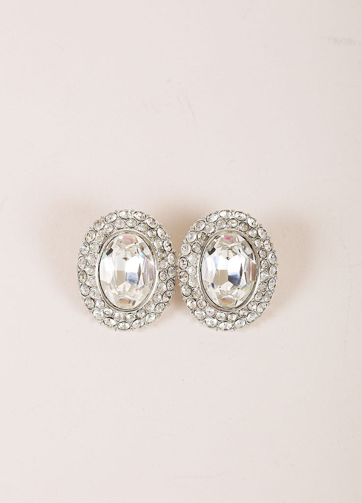 Yves Saint Laurent Silver Toned Chunky Rhinestone Hem Oval Earrings Frontview