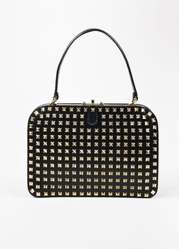"Valentino Noir Black Leather Pyramid Studded ""Rockstud"" Frame Handbag Frontview"