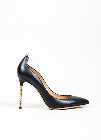 "Black Valentino Leather Gold Toned Pointed Rockstud ""Extreme"" Pumps Sideview"