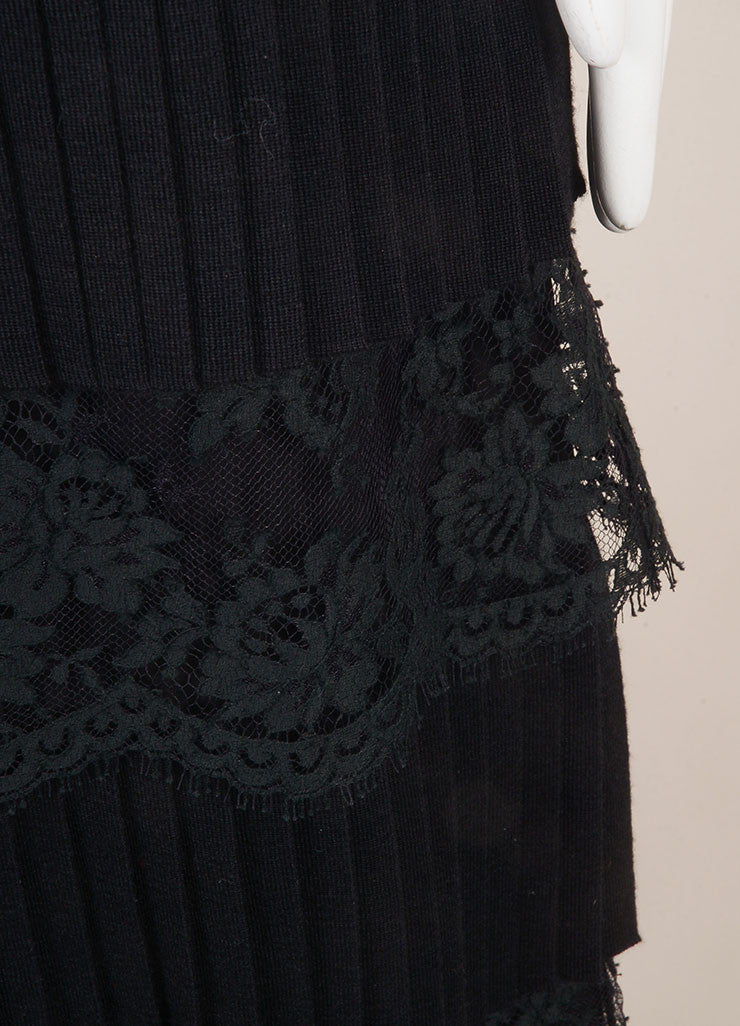 Valentino Black Wool and Silk Lace Pleated Tiered Knee Length Skirt Detail