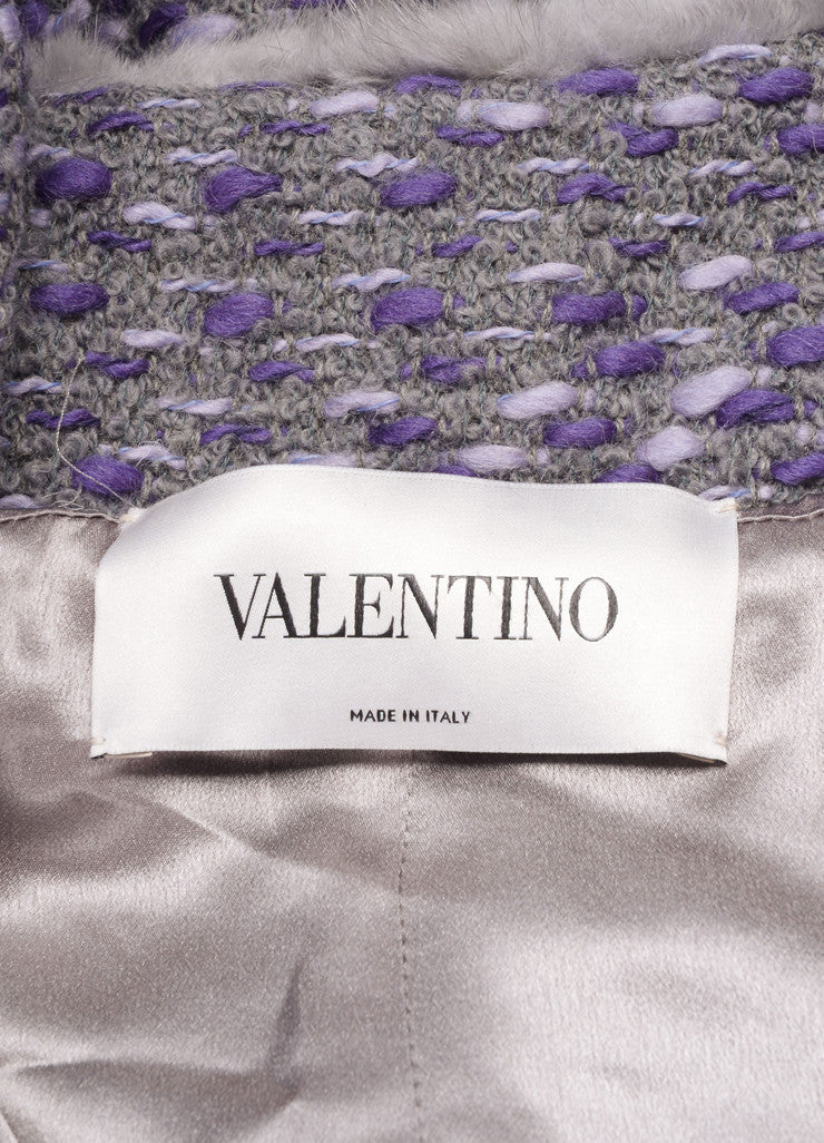 Valentino Grey and Purple Wool Woven Knit Fur Trim Long Sleeve Coat Brand