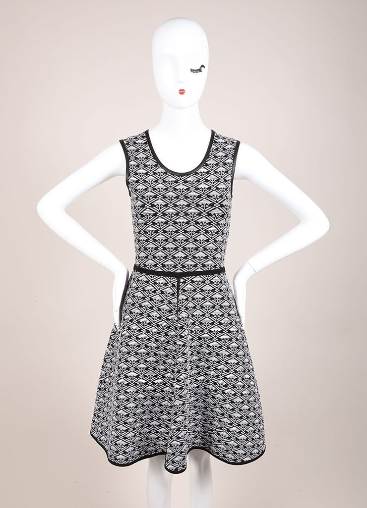 Yigal Azrouel White and Black Stretch Knit Printed Sleeveless Skater Dress Frontview