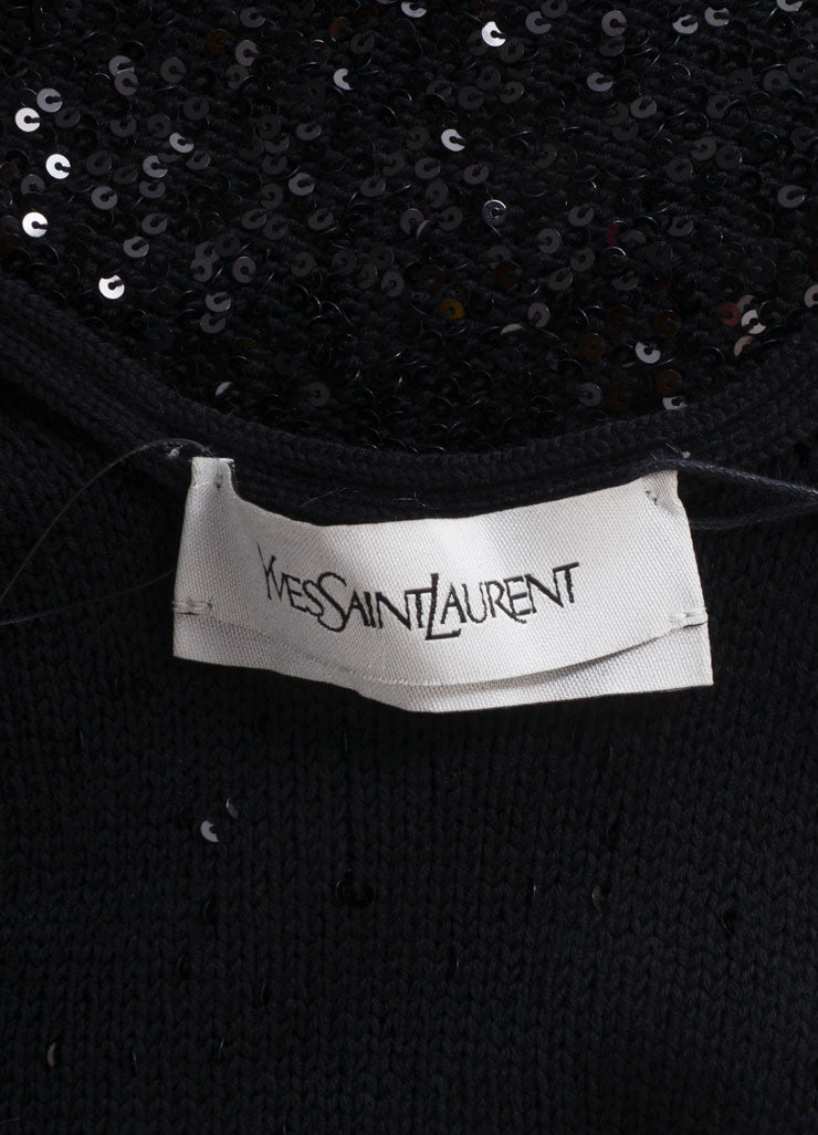 Yves Saint Laurent New With Tags Black Sequin Sleeveless Mini Knit Sweater Dress Brand
