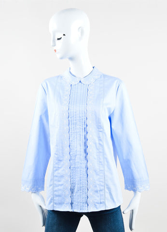 "Vilshenko Blue and White Cotton Embroidered Long Sleeve ""Vlada"" Blouse Top frontview"