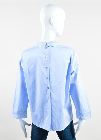 "Vilshenko Blue and White Cotton Embroidered Long Sleeve ""Vlada"" Blouse Top Backview"