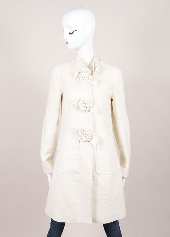 3.1 Phillip Lim Ivory Linen Rosette Button Down Long Coat Frontview