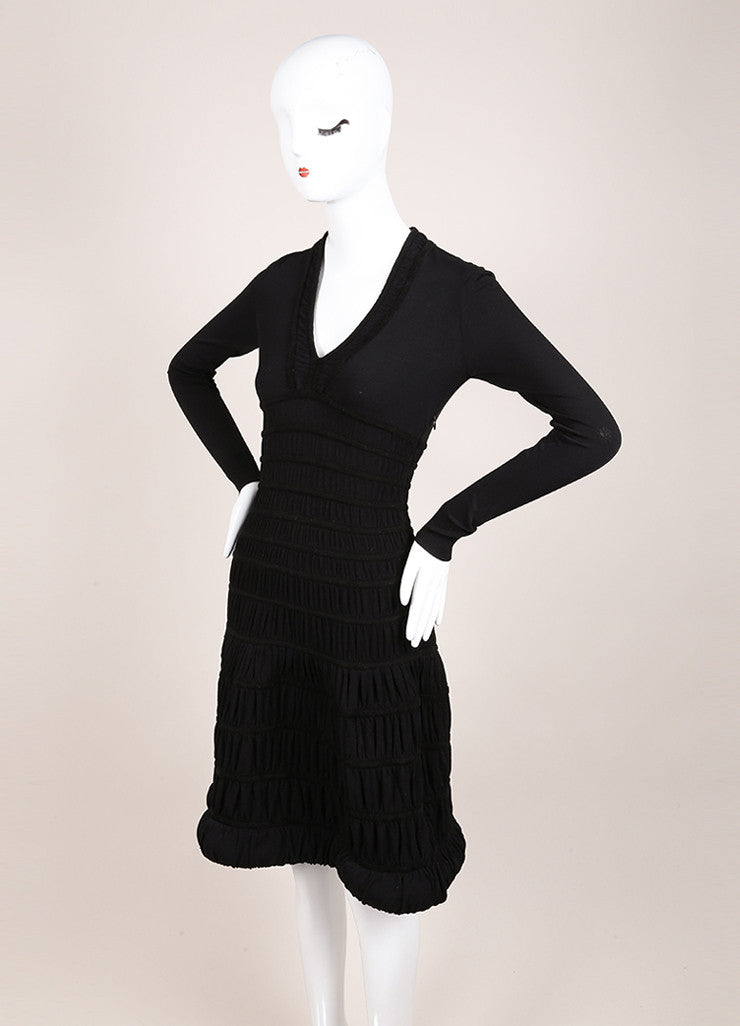 Alaia Black Textured Stretch Knit Ruched Paneled Long Sleeve Dress Sideview