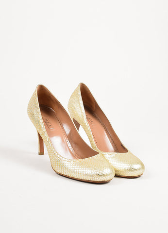 ¥éËAlaia Gold Metallic Snakeskin Top Stitch Round Toe Pumps Frontview