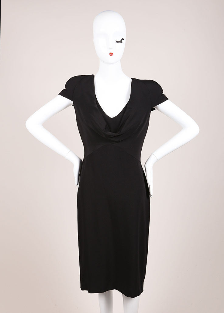Alexander McQueen New With Tags Black Padded Cap Sleeve Drape Neck Silk Dress Frontview