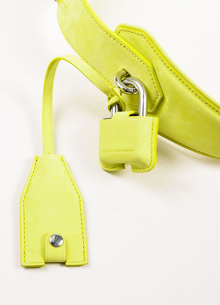 "Alexander Wang Lime Green ""Citrine"" Suede ""Runway Survival Kit"" Bag"