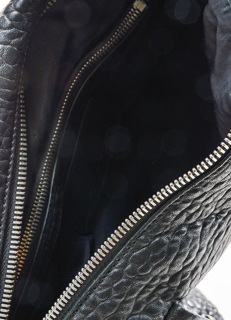 "Black Pebbled Leather Silver Toned Stud Alexander Wang ""Rocky"" Slouchy Handbag Interior"