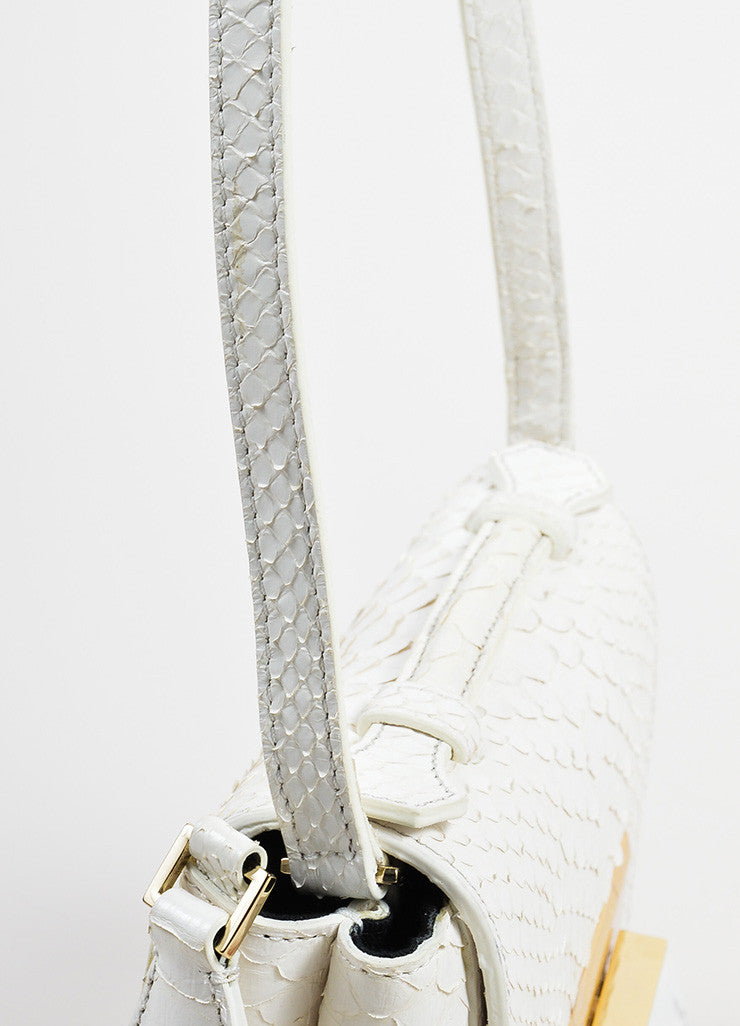 Andrew Gn White Python Skin Turn Lock Mini Brief Cross Body Bag Detail 2