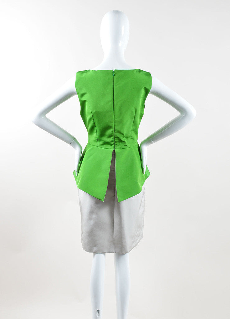 Andrew Gn Green and Grey Color Block Woven Taffeta Peplum Dress Backview