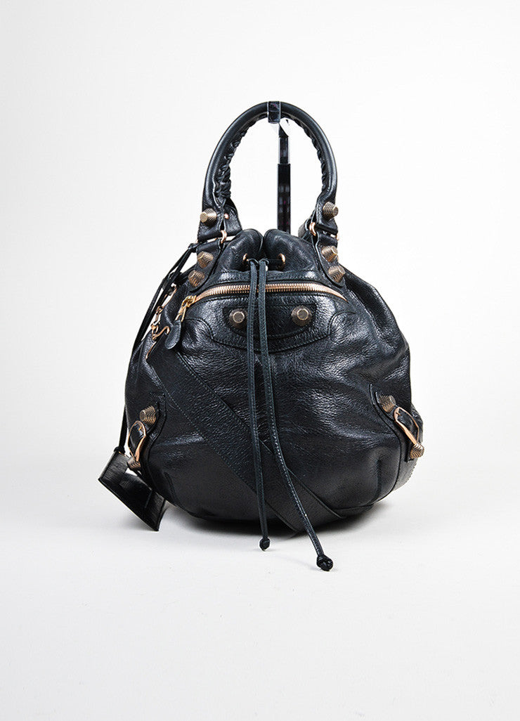 "Black and Rose Gold Toned Balenciaga Leather ""Arena Giant"" Crossbody Bag Frontview"
