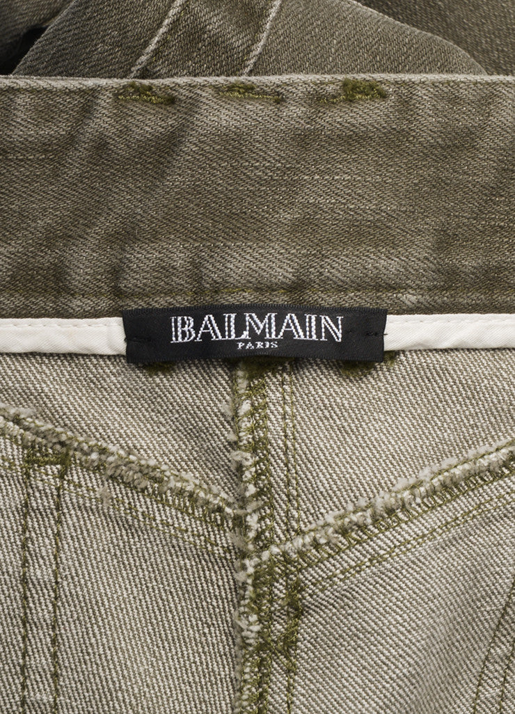 Balmain New With Tags Grey Denim Distressed Zip Moto Jeans Brand