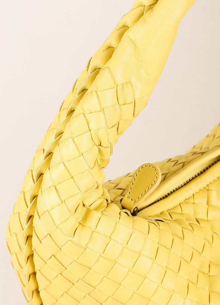 Bottega Veneta Yellow Leather Woven Hobo Shoulder Bag Detail 2
