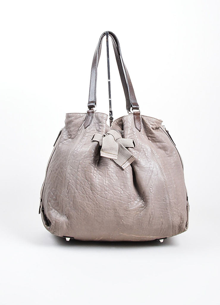 Grey Brunello Cucinelli Leather Expandable Tote Bag Frontview