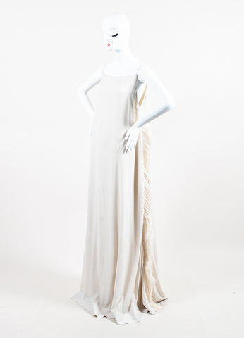 Brunello Cucinelli White Silk Ostrich Feather Gown Sideview