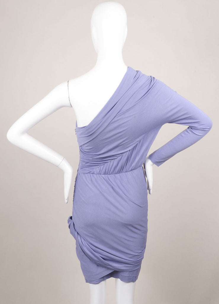 Carven Lilac Stretch Jersey Ruched One Sleeve Dress Backview