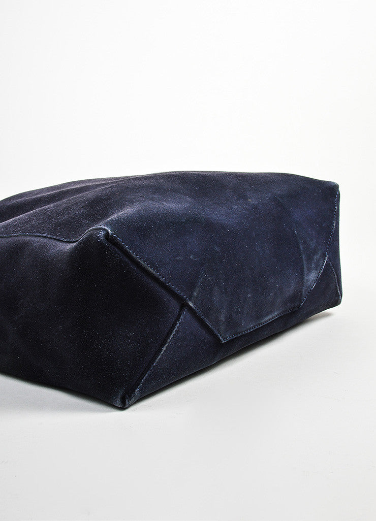 "Navy Blue and Black Celine Suede Leather ""Vertical Cabas"" Tote Bag Bottom View"