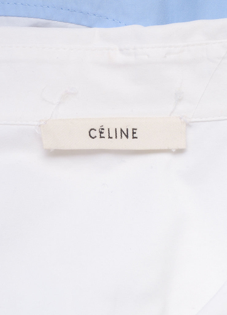 Celine White and French Blue Poplin Color Block Button Down Dress Shirt Brand