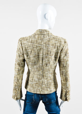 Beige and Brown Chanel Cotton Tweed Fitted Jacket Backview