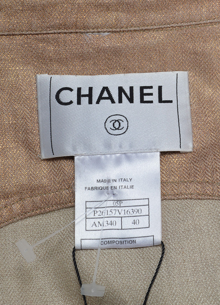 Metallic Gold Chanel Linen and Silk Button Up Jacket Brand