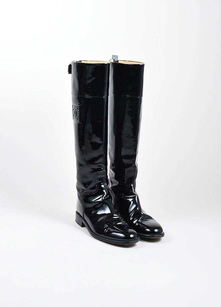 Black Chanel Patent Leather 'CC' Logo Tall Riding Boots Frontview