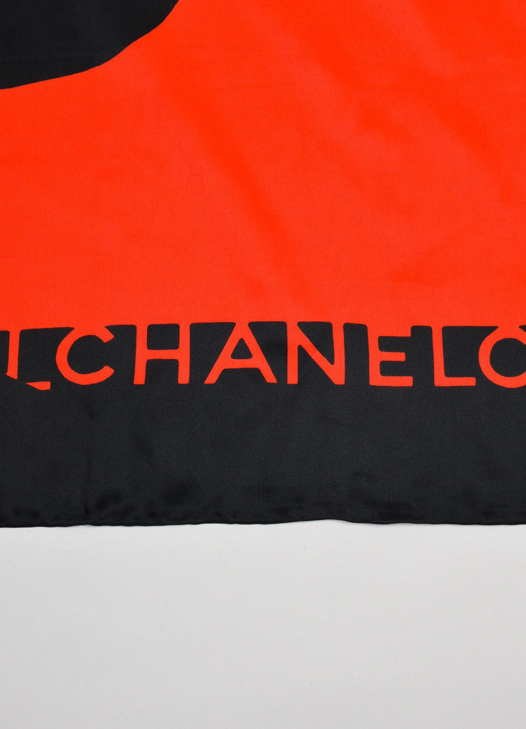 Black and Red Chanel Silk Coco Chanel Silhouette Jewelry Square Scarf Brand