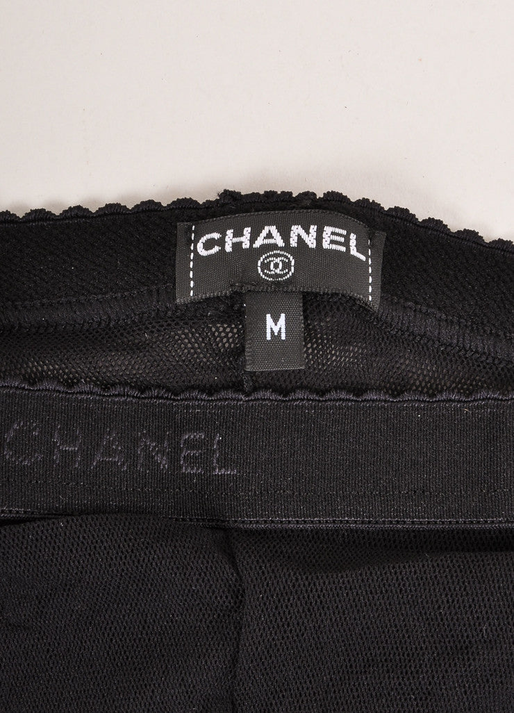 "Chanel Black and White Semi-Sheer Mesh Colorblock ""CC"" Logo Pantyhose Brand"