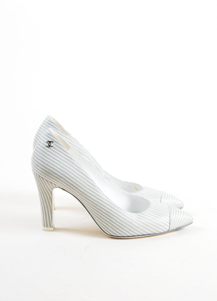 Grey and White Chanel Leather Pinstripe Pointed Cap Toe Heels Sideview