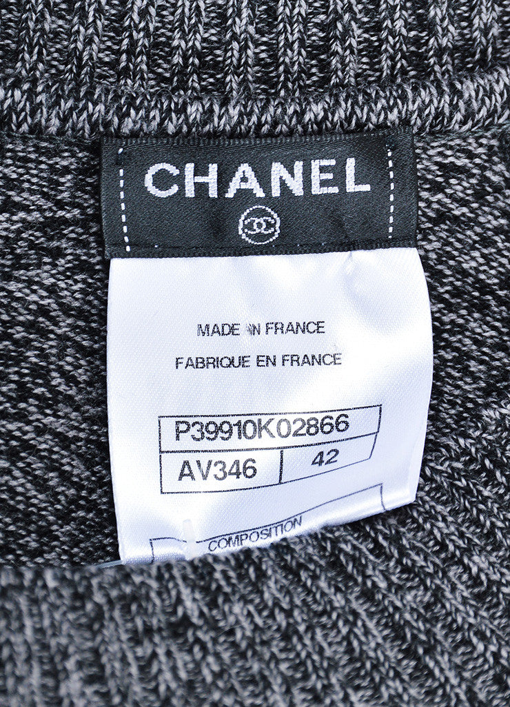 Grey and Black Chanel Wool Long Sleeve Rib Knit Sweater Dress Brand
