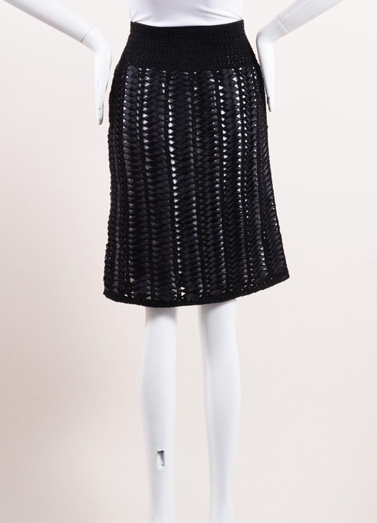 Chanel Black and White Woven Ribbon Crochet Knit Pencil Skirt Backview