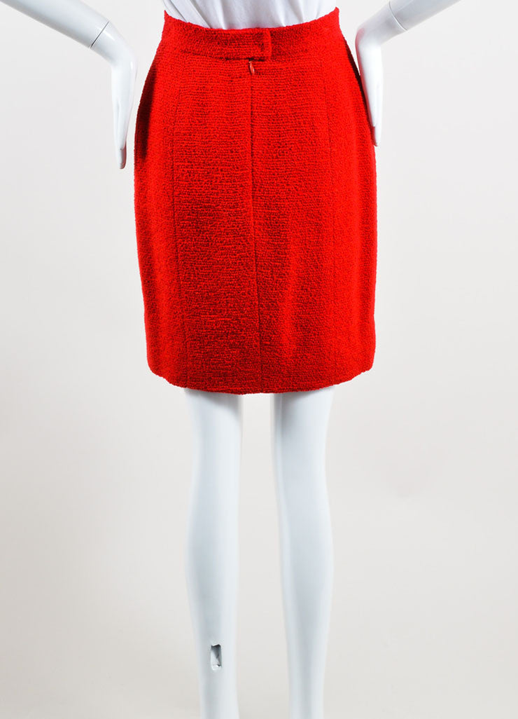 Chanel Red Wool Tweed Pencil Skirt Backview