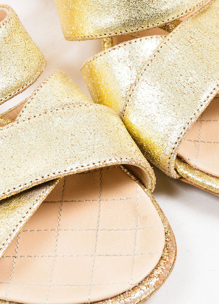 Gold Chanel Metallic Leather Cross Ankle Strap Sandals Detail