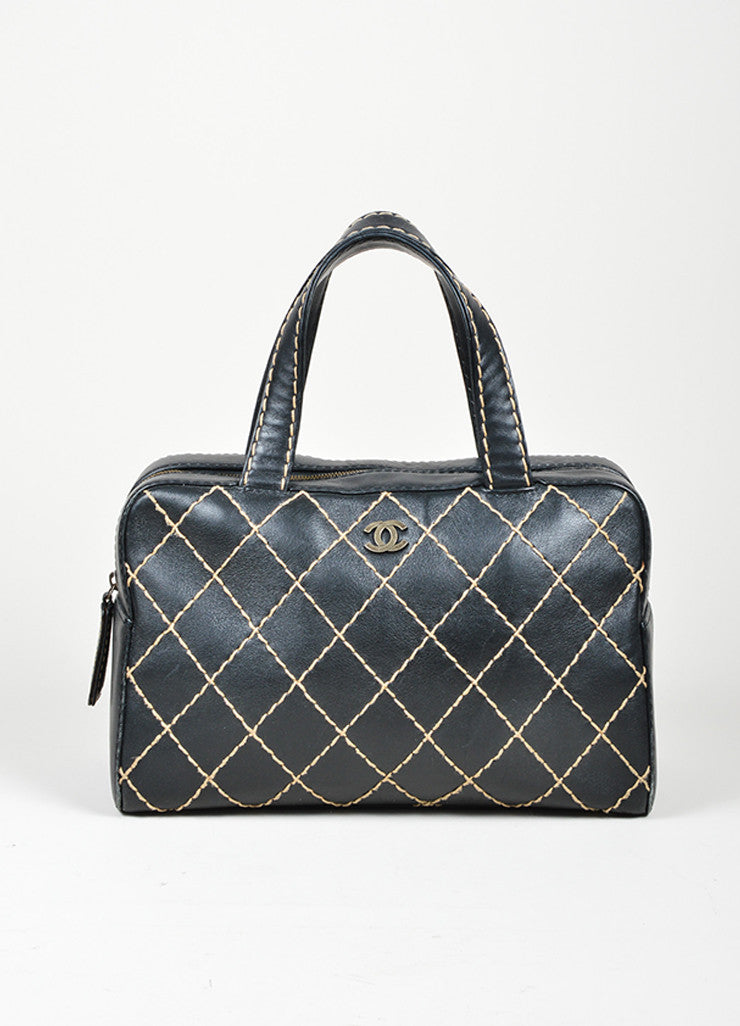 "Chanel ""Surpique Bowler"" Black and Beige Leather Quilted Tote Bag Frontview"